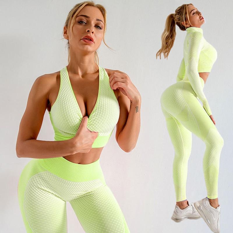 Seamless Women Yoga Set Gym Clothing LongSleeve Crop Top High Waist Leggings Workout Sportswear Fitness Sport Suit Yoga Clothing 2