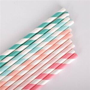 Image 4 - 100 adet toptan İçme kağıt payet çizgili hasır bebek düğün duş dekorasyonu hediye parti olay malzemeleri