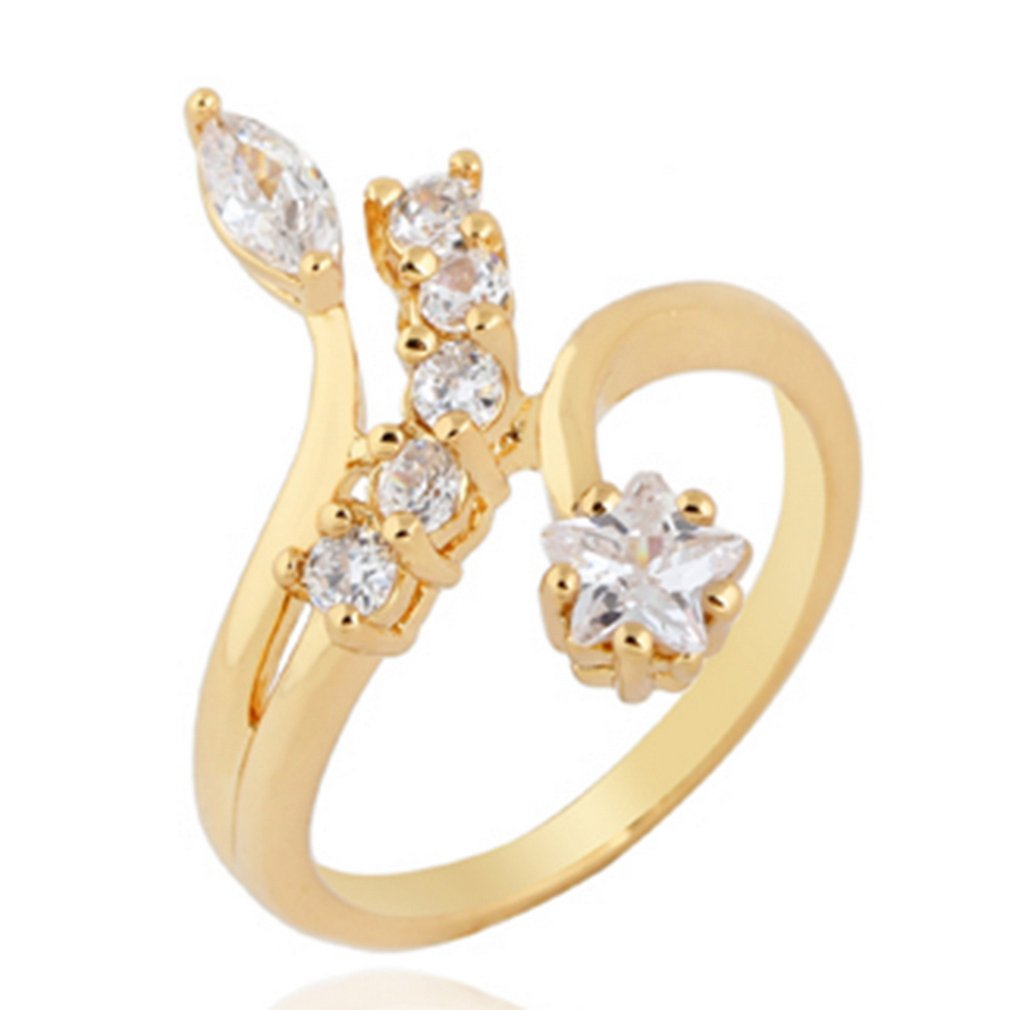 J0596-J-B-5,25 Blume Öffnen Zirkon Ring Kupfer Finger Reif Hoop Mode Schmuck Dekoration für Geschenk Präsentieren