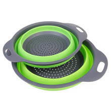2pcs/lot Foldable Silicone Colander Fruit Vegetable Washing Basket agic Strainer Collapsible Drainer Kitchen Tools Gadget