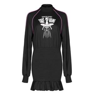 Image 5 - PUNK RAVE Girls Punk Style Aliens Take Me Home Printed Long Sleeved Flounced Wrap Dress Women Casual Black Dress