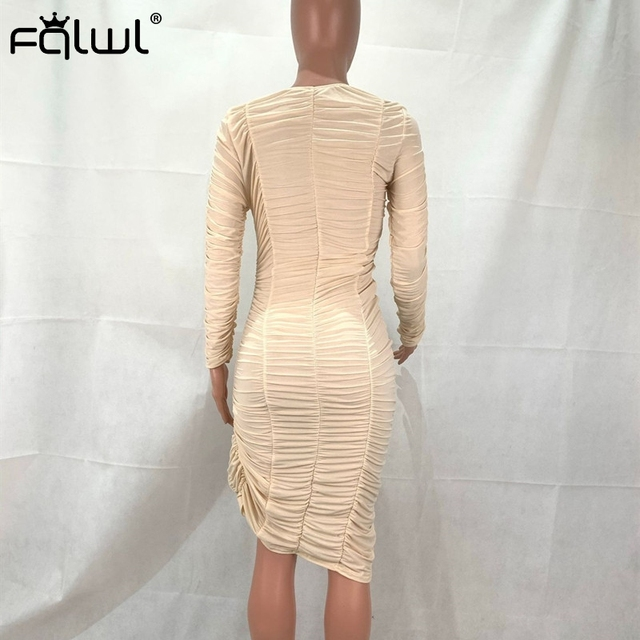 FQLWL See Through Sexy Club Mesh Ruched Dress Women Solid Long Sleeve Bodycon Mini Dress Split Pleated Ladies Short Party Dress