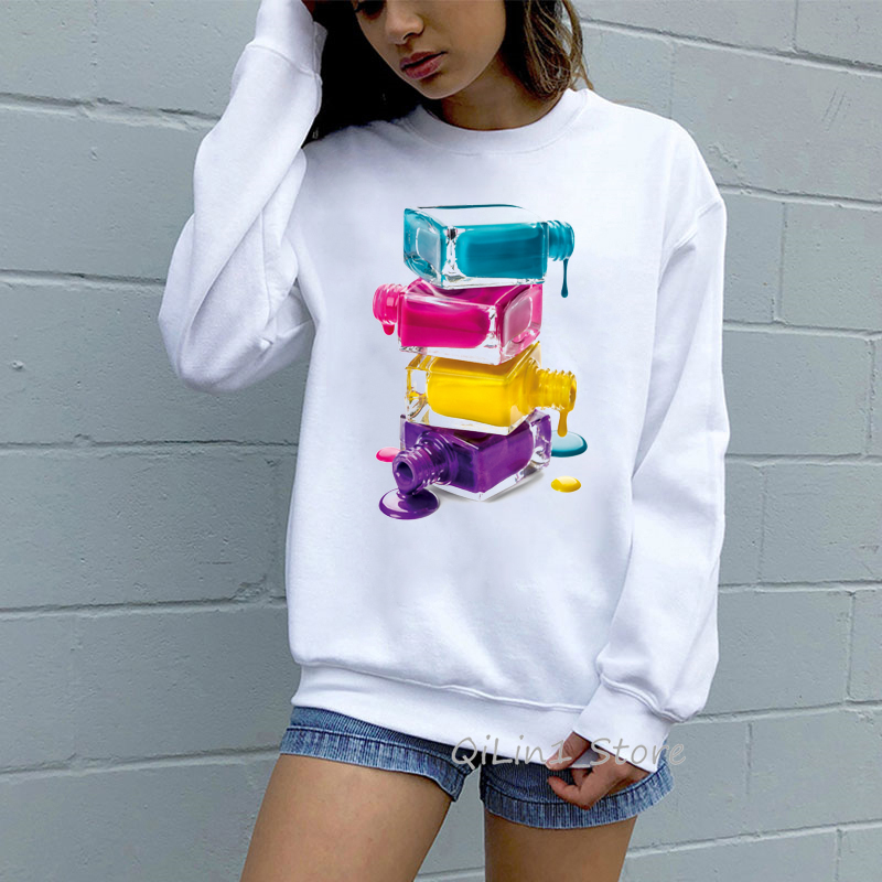 A Stack Of Nail Polish Printed Funny Hoodie Woman Kawaii Top Clothes Women 3D Sweatshirts 90s Streetwear White Tracksuit Moletom