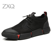Shoes Men All Black England Style Casual Leather Breathable Fashion 2019 NEW High quality