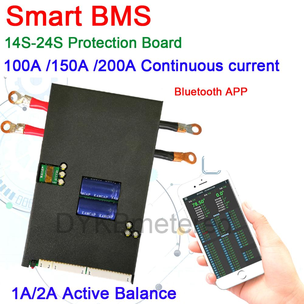 1A/2A Active Balance Battery Protection Board Smart BMS 14S ~ 24S 100A 150A 200A 300A 400A Phone APP Lifepo4 Li-ion LTO 16S 20S