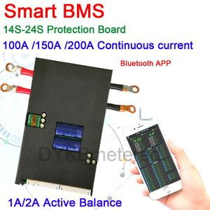 Tablero de protección Lifepo4 li-ion LTO, 14S- 24S 1A/2A, 100A, 150A, 200A, APP BMS con Bluetooth, batería de litio 16S, 20S