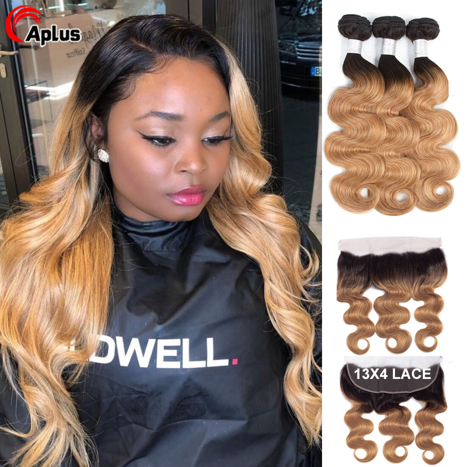 Honey Blonde Bundle With Frontal Ombre Brazilian Body Wave Remy Hair Weave 13*4 Ear To Ear Lace Frontal Closure With Bundle