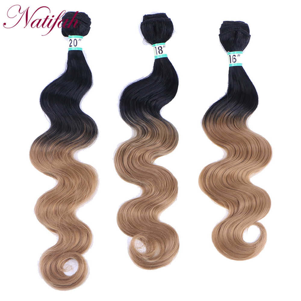 Natifah Ombre Body Wave Bundles Synthetic Hair Weave Bundles 16 18 20 Inches Synthetic Hair Extension 70g /pcs Two Tone
