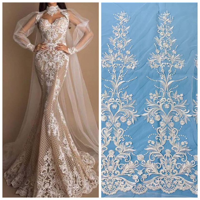 2019 Best Selling  Off White130 Cm High Quality Exquisite Bridal  Wedding Dress Lace Fabric Gorgeous Mesh Tulle Embroidery Lace