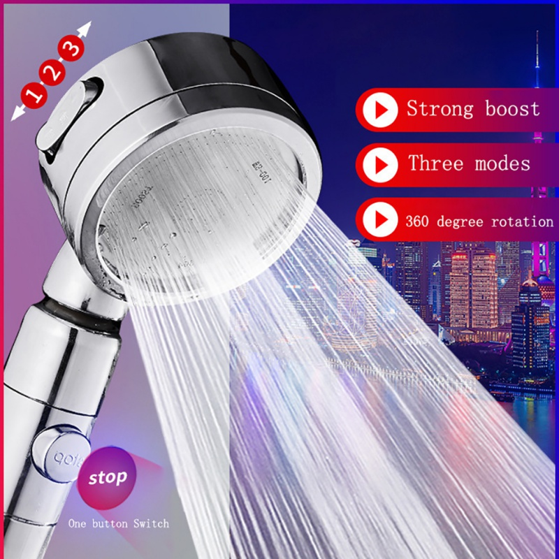 3 Modes With Switch Button Shower Head Plastic Adjustable Bathroom Handles New High Pressure Shower Head