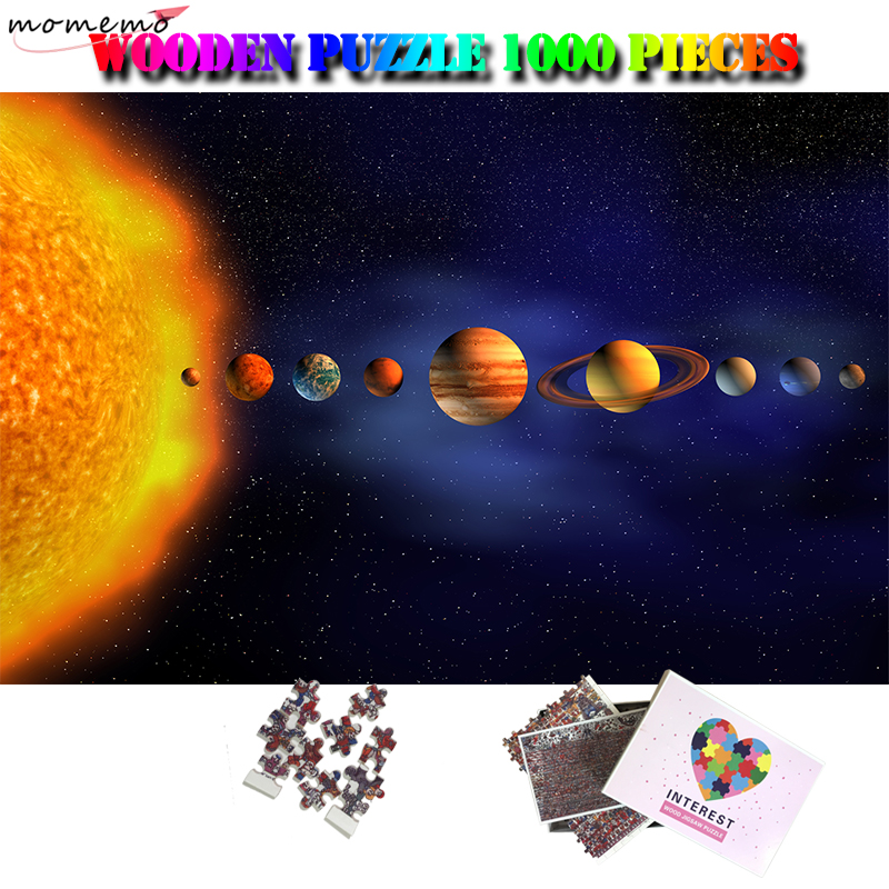 MOMEMO Solar System Pure Wooden Puzzle 1000 Pieces Jigsaw Puzzle Toys Adults 1000 Puzzle Education Pattern for Kids Puzzle Games