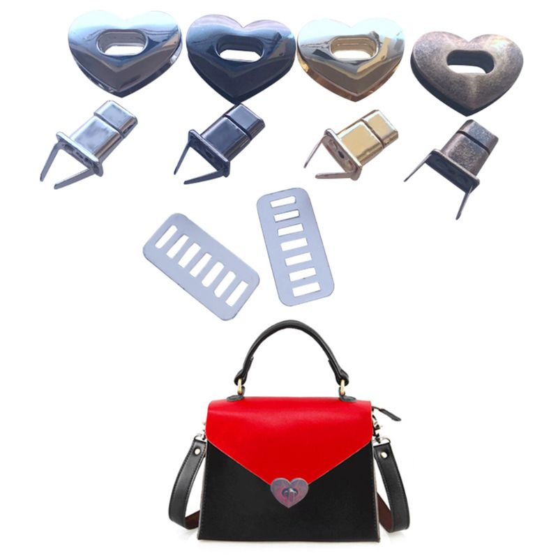1 Set Heart Shape Metal Clasp Turn Lock Twistlocks For Handbag Purse DIY Tool188