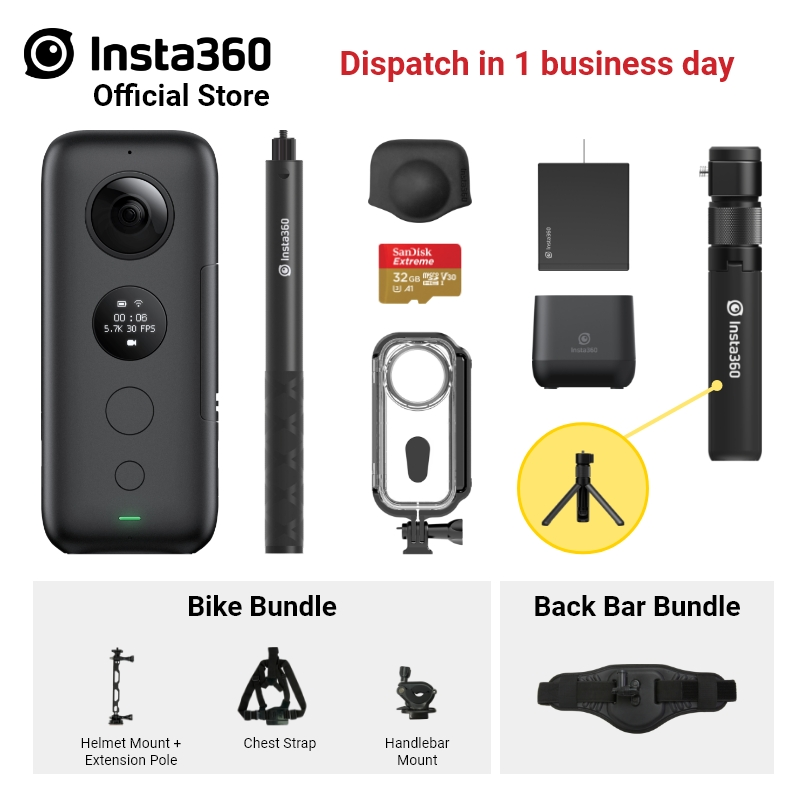 Insta360 ONE X /& ONE Panoramic Action Camera Sports Accessory Motorcycle Bundle