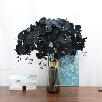 105cm Artificial Flower Black Butterfly Orchid Silk Phalaenopsis For Wedding Christams Home Decoration Garden Potted Fake Plants