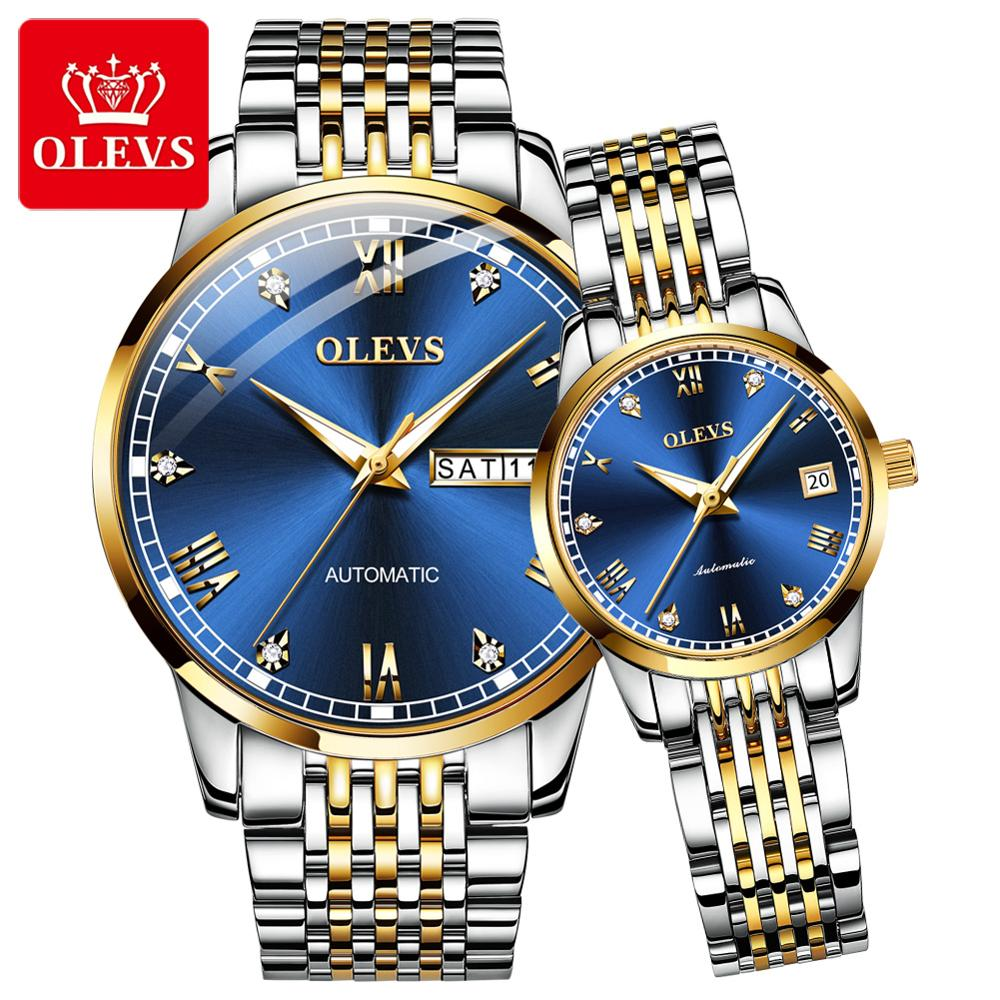 OLEVS Ultra-thin Simple Classic <font><b>Couple</b></font> Mechanical Watch Genuine Business Waterproof Stainless Steel Rhinestone Automatic Watch image