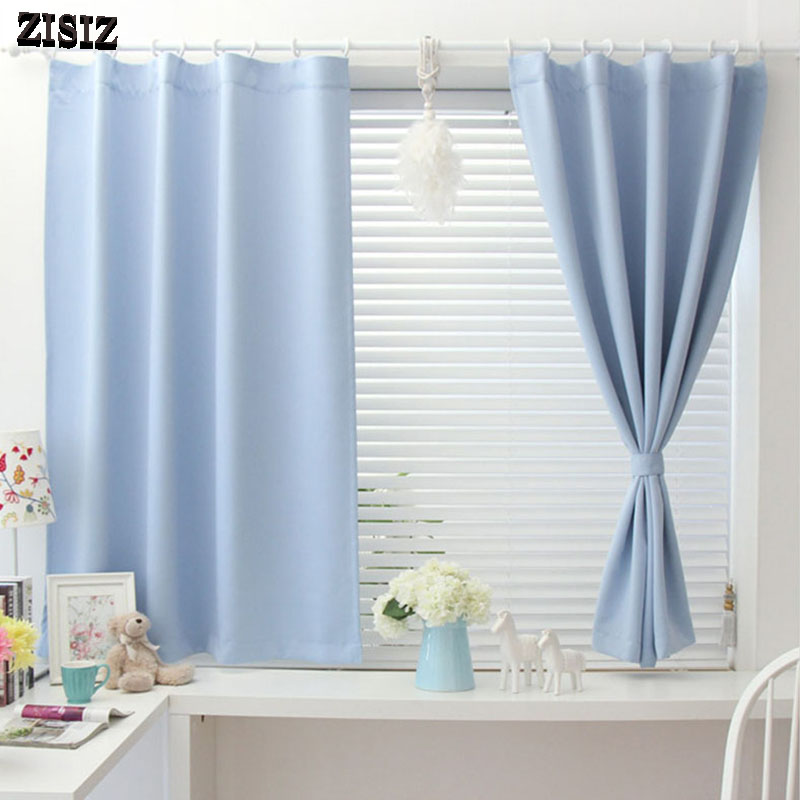 ZISIZ Solid Blackout Short Curtains For Living Room Bedroom Kitchen Curtains Window Treatments Curtains Home Decoration Drapes