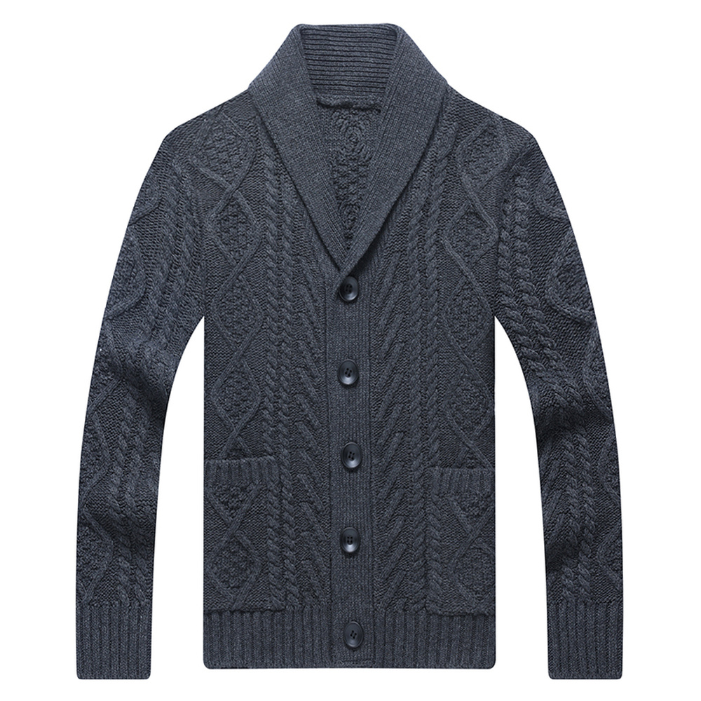 Men's Fleece Sweater Autumn Winter Casual Slim Fit Button Knitted Mens Thick Warm Sweaters Coat Men M-4XL Streetwear MWK005