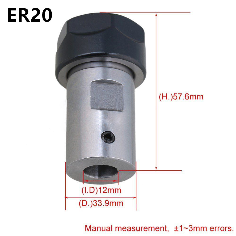 Type A ER20 12mm Extension Rod Motor Shaft Chuck Tool Holder For CNC Milling Drill Clip Replacement For Any Straight Shank Tools