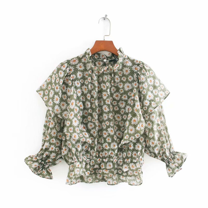 New 2020 Women Flower Print Casual Smock Blouse Female Stand Collar Three Quarter Sleeve Ruffles Shirts Chic Blusas Tops LS6667