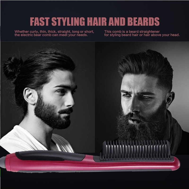 Anti static Ceramic Straightening Brush Comb hair straightener iron Pro LCD Heating Electric Ionic Fast Safe Hair Straightener