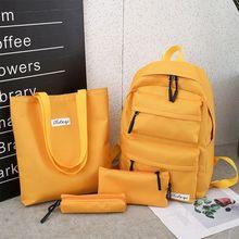 4Pcs Women Solid Color Canvas Backpack Shoulder Bag Pencil Case Daypack Teenage Girls Schoolbag Set