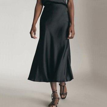 2019 Spring Summer Women High Waist Satin Skirt Metallic Color Long Skirt Shiny Silk Imitation Midi Skirt Silver Black 1