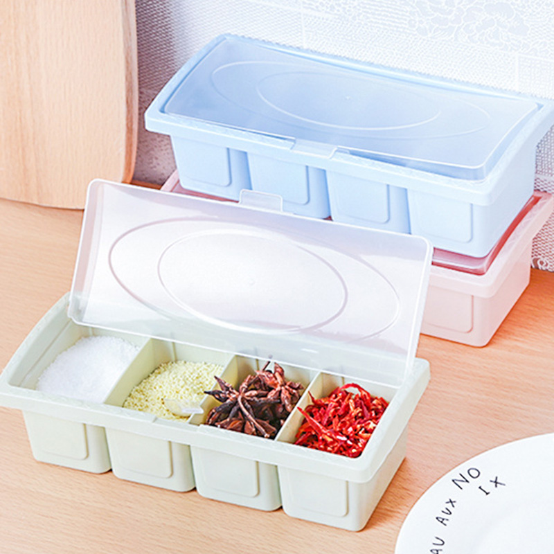 Salt And Pepper 4Pcs Set Seasoning Box Spice Jar Household Kitchen Storage Container Spice Organizer Box Kitchen Accessories in Salt Pigs Cellars Servers from Home Garden