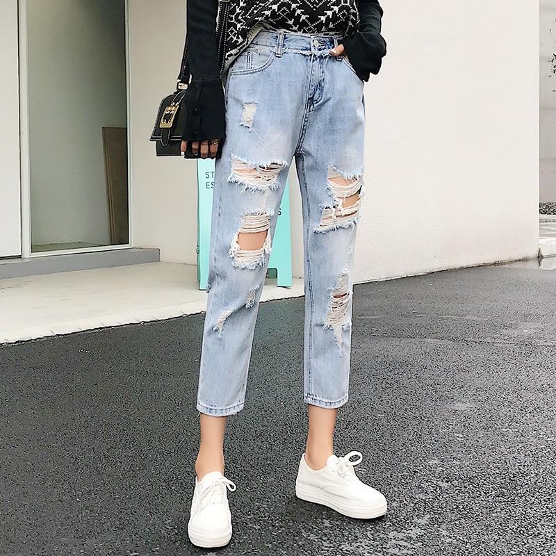 Women's Capri Ripped Jeans Holes Jeans Loose Harem Pants Korean-style Light Color Casual Long Slimming Pants