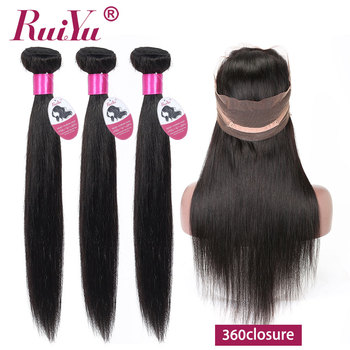 Brazilian Hair Weave Straight Bundles With 360 Frontal Closure Pre Plucked 360 Lace Frontal With 3 Bundles Deals RUIYU Remy Hair