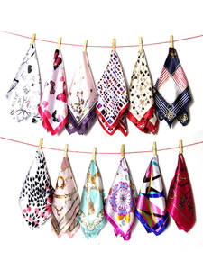 Silk Scarf Spring-Printed Squares Small Elegant Luxury-Design Women Professional 50--50