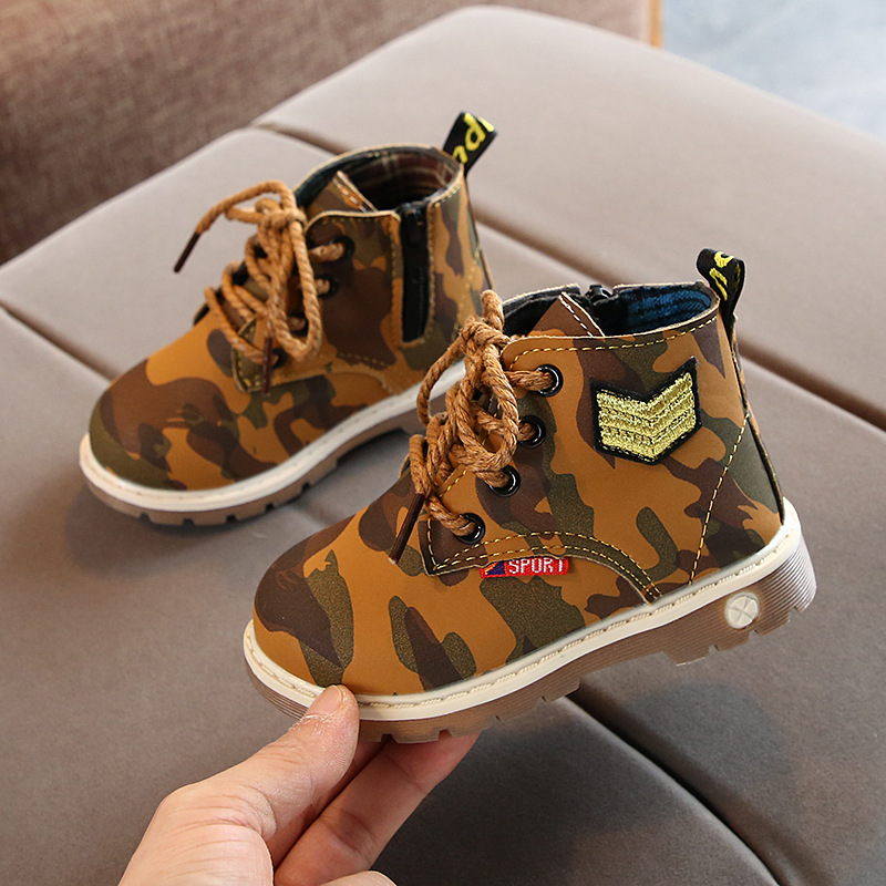 Winter Boys Boots Kids Leather Martin Boots Baby Waterproof Toddler Girl Cowboy Boots Little Children Ankle Fashion Western Boot