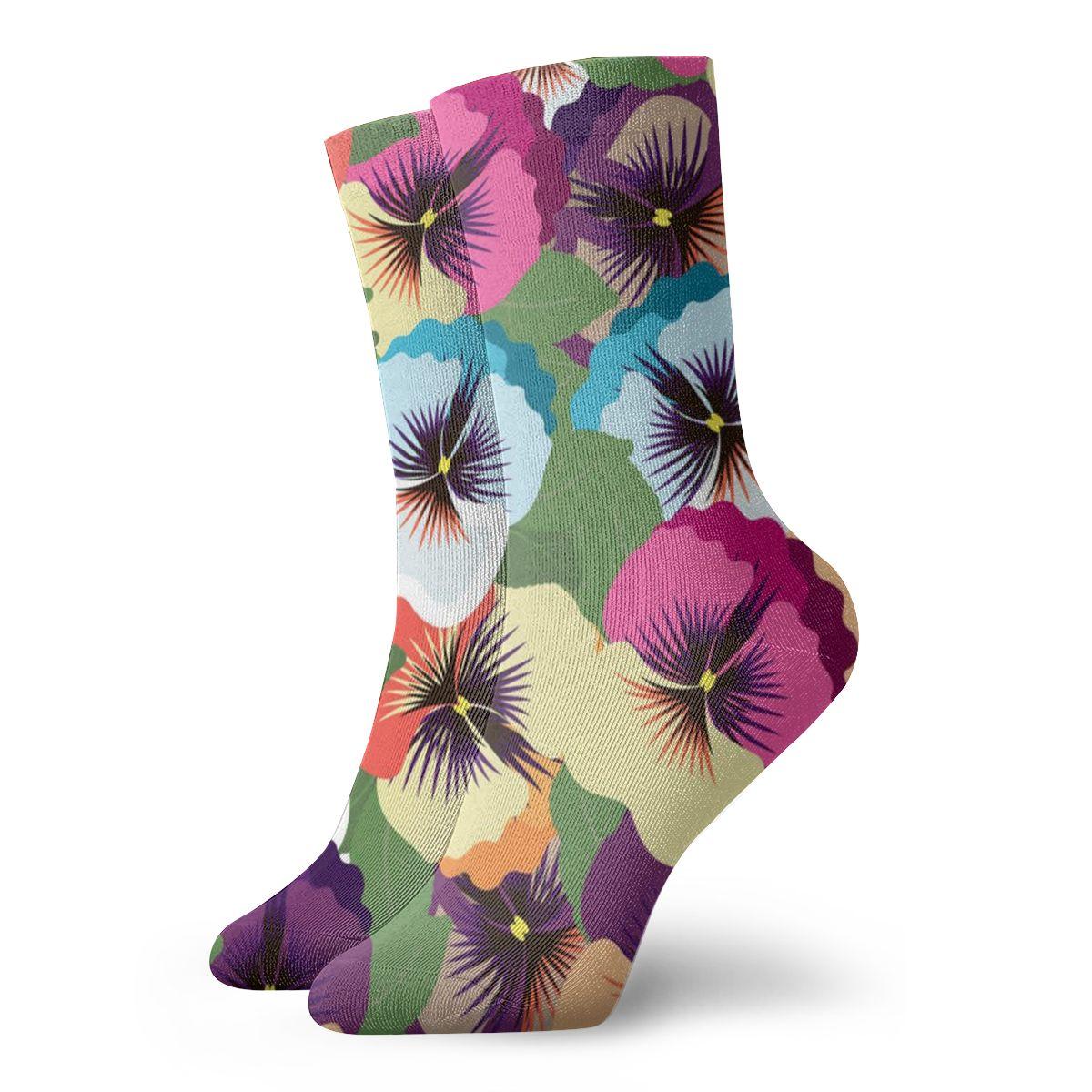 NOISYDESIGNS Fashion Kawaii Socks Floral Print Pansy Flowers Ankle Short Socks For Lady Girls Summer Spring Socks Women New