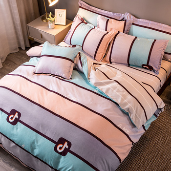 High Quality Winter Warm Bed Linen Stripe Duvet Cover Flat Sheet Pillowcase New Style 3-6pcs/set Flowers Printed Bedding Set CF