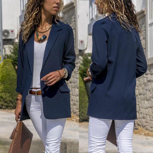 2020 Office Lady Party Clothes Blazer Suit Coat Work Wear Business Jacket Formal Suit Blazers Solid Color Blazer Robe Femme