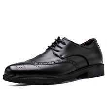 Black Classic Formal Shoes Men Brogues Wedding Business Mens Dress Shoes Genuine leather Oxford Shoes For men Increasing Shoes christia bella brand fashion men oxford shoes genuine leather business office men brogues gold wedding men dress shoes male flat