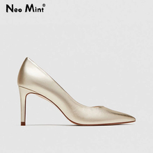 Chic Leather Office Shoes Women Solid Color Pointed Toe Stiletto High Heels Women Pumps Genuine Leather Ladies Shoes