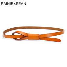 RAINIE SEAN Thin Real Leather Women Belt Korean Casual Ladies Knot Belts for Dresses Autumn Camel Self Tie Strap Accessories