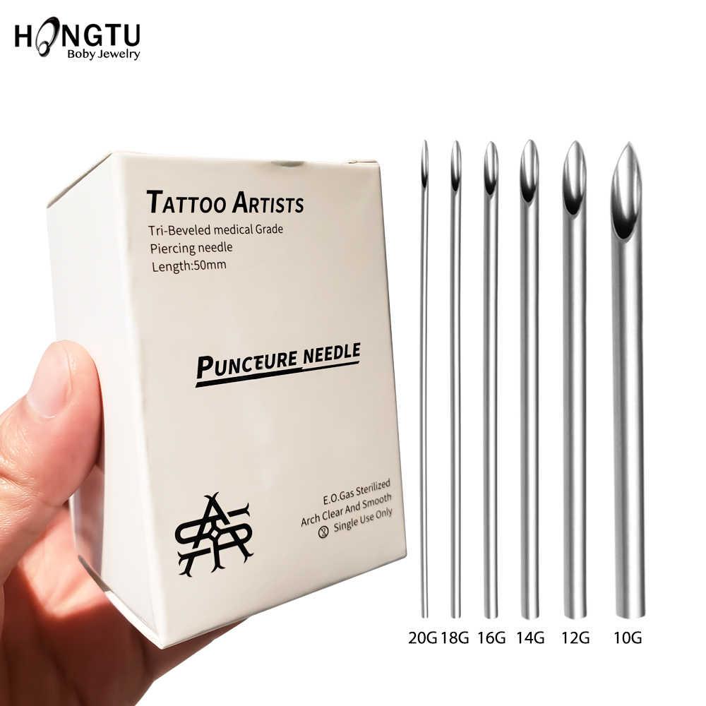 5/30pcs สเตียรอยด์ Disposable เข็มเจาะเหล็กผ่าตัด TATTOO Supply หูจมูกลิ้น Navel เจาะเครื่องมือ 10-20G