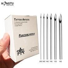5/30 pces esterilizaram agulhas de perfuração descartáveis do corpo fornecimento de tatuagem de aço cirúrgico orelha nariz língua lábio umbigo piercing ferramentas 10-20g