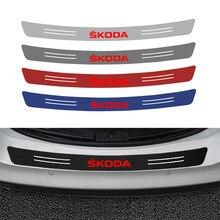 Autocollants de pare-chocs arrière en Fiber de carbone 3D, 1 pièce, accessoires de style pour skoda octavia fabia rapid yeti kodiaqsuperb