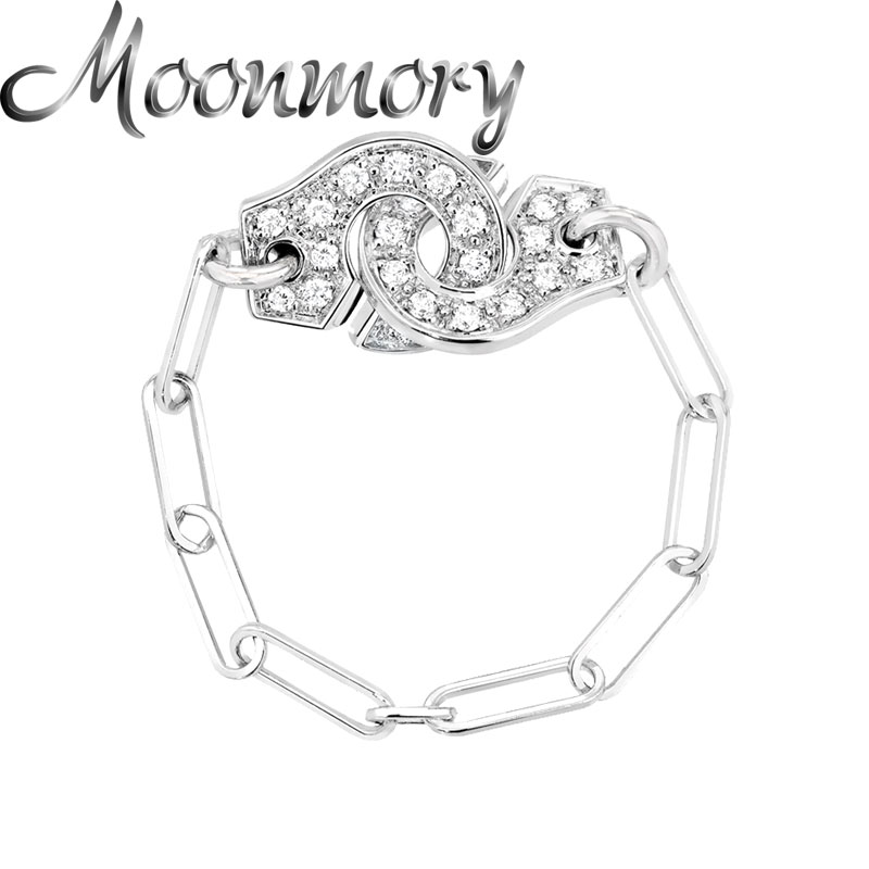 Moonmory 925 Sterling Silver Rock Punk White Zircon Menottes Chain Ring For Women Crystal Hand Cuff Party Rings Jewelry Making