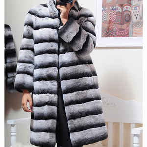 Image 3 - OFTBUY 2020 Luxury Witner Jacket Women Real Fur Coat Natural Rex Rabbit Fur Outerwear Striped Thick Warm Stand Collar Streetwear