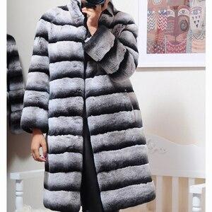 Image 3 - OFTBUY Chaqueta de invierno de lujo para mujer, abrigo de piel Real, prendas de vestir de piel de conejo Rex Natural a rayas gruesas y cálidas con cuello levantado, ropa de calle 2020