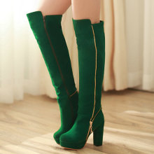 Sexy High Heels Women Boots Fashion Classic Platform Zipper Over the Knee Long Boots Spring Winter Boots Women Green Big Size 43