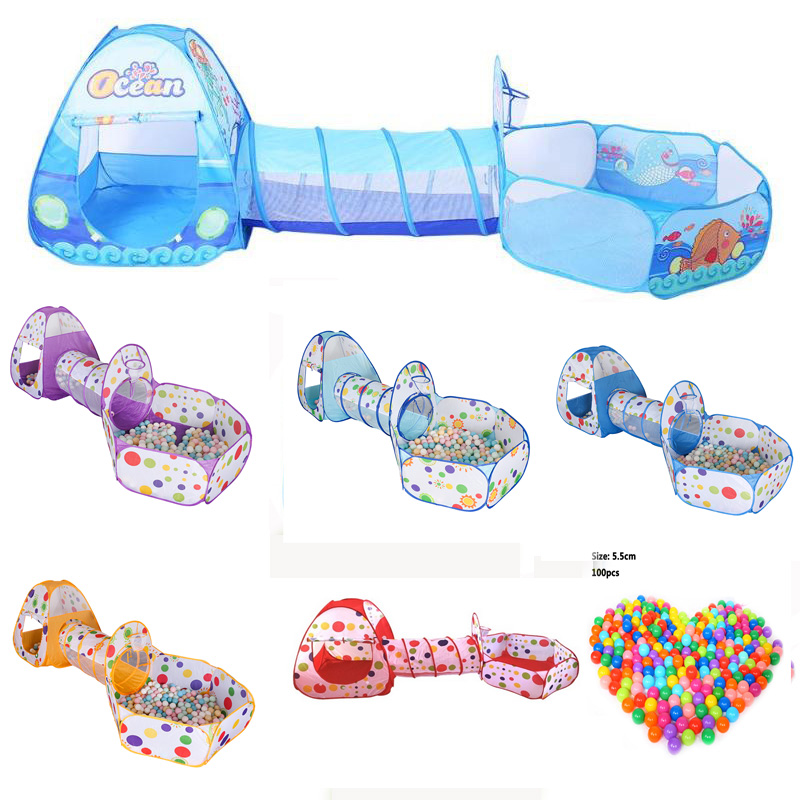 3 In 1 Set Foldable Large Pool Kids Crawling Tunnel + Play Tents + Baby Ocean Ball Pool Kids Play House Set Children Game Toys