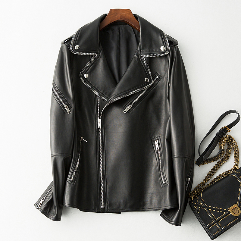 Genuine New 2020 Leather Jacket Women 100% Sheepskin Coat Spring Autumn Motorcycle Biker Jacket Veste Femme R6913