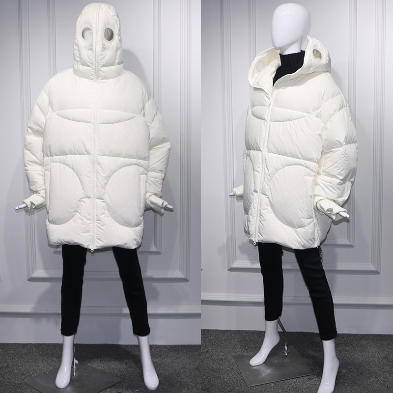 Winter Mantel Frauen Lose Volle Gesicht Kappe Kapuze Dicken Parka Plus Größe Frauen Jacke Weiß Schwarz Lustige Persönlichkeit Alien Mantel BB09 - 6