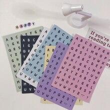 Color Cute Hand Drawn English Alphabet Number Mark Sticker Phone Stickers Handbook Material Stationery DIY Decorative Sticker