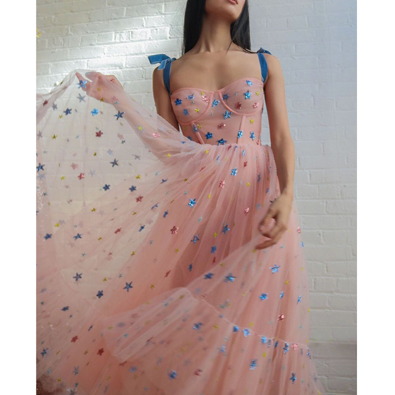 Sweet Pink Star Mesh Dress Woman 2020 New Summer Spaghetti Strap Runway Design Vestido Casual Dress Party Female