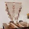 Macrame pared colgante tejido arte tapiz Boho estilo salvaje decoración Navidad decoraciones Fireplac para el hogar